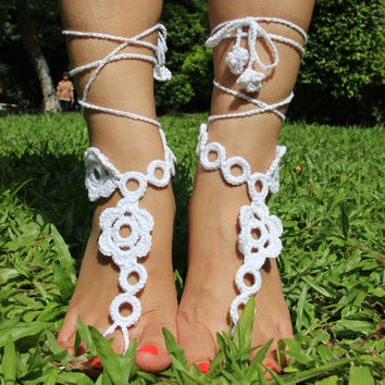 Stylish Gift Sexy Ladies Cute Shiny New Arrival Jewelry White Wedding Dress Accessory Sandals Beach Party Crochet Anklet [4919470084]