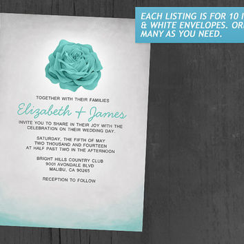 Trendy Floral Aqua Wedding Invitations | Invites | Invitation Cards