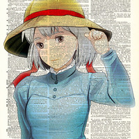 Sophie Starlight Studio Ghibli Inspired Art Print on an Antique Upcycled Bookpage