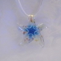 Starfish Lampwork Glass Pendant Necklace ~ Fast Shipping ~ U.S.A. Seller