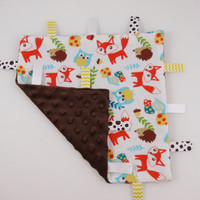 Woodland Friends Fox Hedgehog Owl Ribbon Blanket Baby Gift Neutral