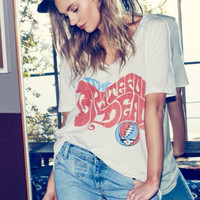 Chaser LA Grateful Dead Hippie Deep V Tee in Salt