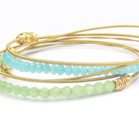 Bangle Bracelets // Set of 5 Bracelets // Gold & Mint Green, Aqua Blue Swarovski Crystals // Eco-Friendly Recycled / Bridesmaid Jewelry Gift
