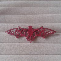 Closing sale- red metallic  bat vampire   brooch  pin - gothic, lolita
