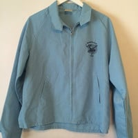 Vintage 70s Order of the Moose Lightweight Jacket Baby Blue Zip Front Size Large