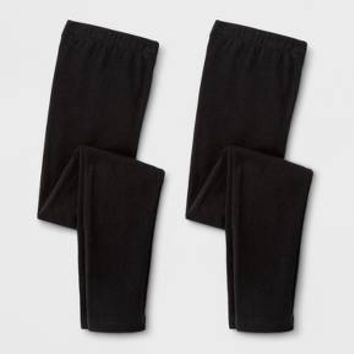 Girls' 2pk Leggings - Cat & Jack™ Black/Black