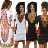 Women's  Dashiki  Dress African Folk Print 3/4 Sleeve African  Bodycon Dress [8834066124]