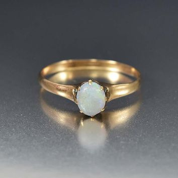 Antique Rose Gold Opal Solitaire Ring