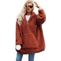 Fashion Women Hoodie Fleece Cashmere Loose Thick Warm Oversized Hoodie Winter Plus Size Hooded Pullover Outerwear Camel/Brown