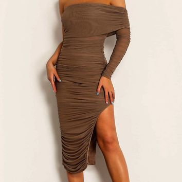 Full Of Fortune Sheer Mesh Ruched Off The Shoulder One Long Sleeve Side Slit Bodycon Maxi Dress - 3 Colors Available