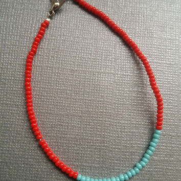 Opaque Red and Turquoise Seed Bead Bracelet