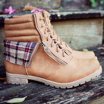 Smoky Mountain Expedition Cognac Plaid Fold Over Boots
