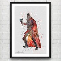 Thor Watercolor Art Poster Print, Marvel SuperHero, Wall Art, Home Decor, Boy's Gift, Not Framed, Buy 2 Get 1 Free! [No. 102]