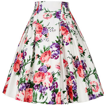 Midi skirt 2016 Summer women floral printed High Waist Pleated A Line high waist Skater Vintage Casual 50s Skirts Saia Femininas