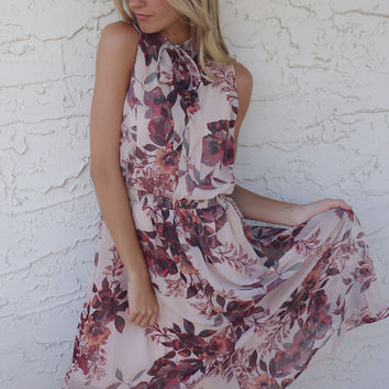 Carefree Floral Taupe Sleeveless Dress