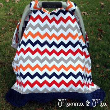 Infant - baby - boy- Chevron and Navy Minky Trimmed Carseat Cover -carseat canopy