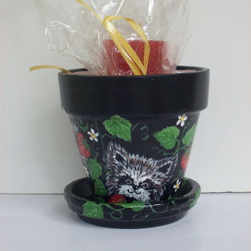Hand Painted Flower Pot, Small Planter and Plate, Critter in Strawberries and Red Candle, Painted black, Gift Set