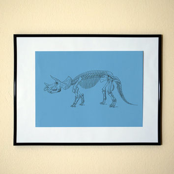 Cute Triceratops Skeleton Dinosaur Pop Style Art Print 8x10 Inches Buy 2 Get 1