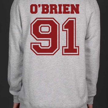 O'Brien 91 Dylan O'Brien Stilinski teen wolf On Back Unisex Crewneck Sweatshirt S to 3XL Color Heather Grey