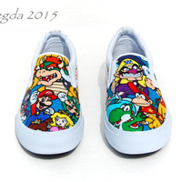 SUPER RARE- Mario Party Men's Shoes- Wedding shoes- Prom shoes- Matching shoes- Super Mario Bros- Homecoming- Geek- Nerd -Geeky -Gamer