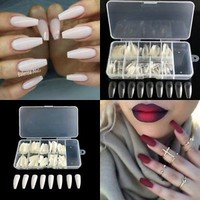 Half Cover 100pcs False Nail tips Long Ballerina Coffin Nails DIY + Box