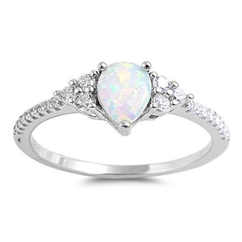 Choose Color Womens Pear Promise Ring Rhodium Plated Sterling Silver Simulated Opal Promise Ring CZ