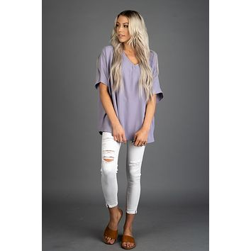 Solid Boxy Front Pocket Top in LAVENDER
