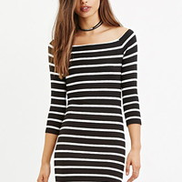Boat Neck Stripe Dress