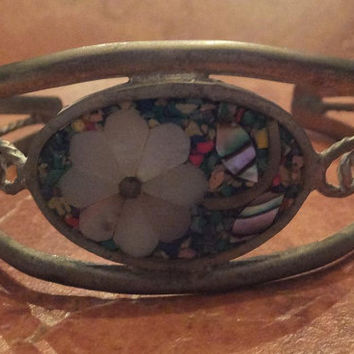 Vintage Alpaca Silver Cuff Multi-Colored Mother of Pearl Flower Bracelet Mexico Mexican Jewelry