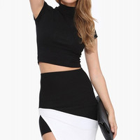Black and White Pencil Skirt with Side Slit