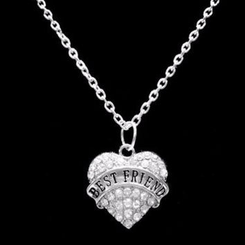 Crystal Best Friend Heart Best Friends Friendship Gift Charm Necklace