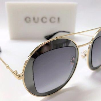 Authentic Gucci Gg0105s 001 47 Ruthenium Gold Oval Sunglasses