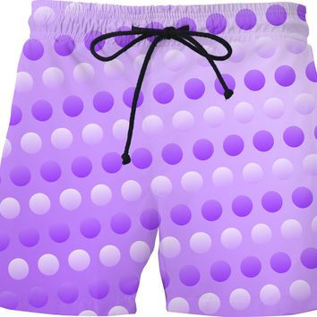 Polka dots swim pants, two tones white, purple, violet circles pattern, retro themed