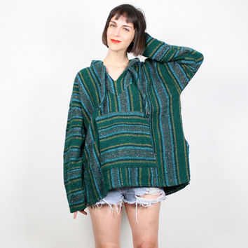 Vintage Hunter Green Baja Hoodie Woven Knit Ethnic Striped Poncho Pullover Jacket Emerald Green Hippie Surfer Top 1990s 90s Grunge Boho L XL