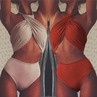 Solid Color Crisscross Halter One Piece Swimwear Bikini Swimsuit