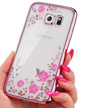 Plating Secret Garden Soft Case For Samsung Galaxy S3 S4 S5 S6 S7 Edge Plus Flowers Diamond Lace Gilded TPU Silicone Shell Cover