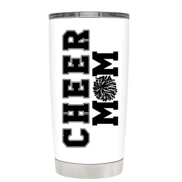 Pom Pom Cheer Mom on White 20 oz Tumbler Cup