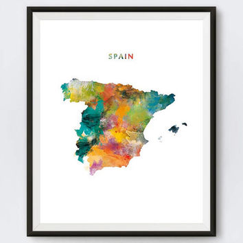 Spain Print, Watercolor Map, Madrid Print, Wall Art, Poster, Espana, Painting, Spanish, Travel, Home Office Decor, Gift, Digital Download