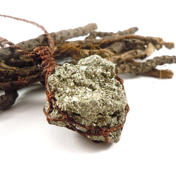 Pyrite necklace, macrame necklace, pyrite cluster, good fortune necklace, healing crystal, healers gold, golden crystals, pyrite jewelry