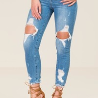 Harper Mid Rise Blown Out Destructed Jeans