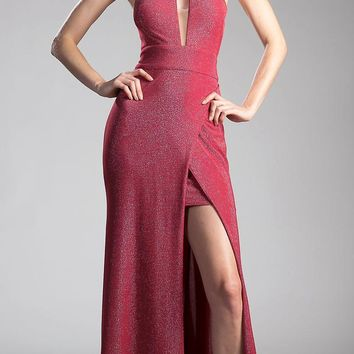 Burgundy Cut Out Bodice and Back Long Prom Dress