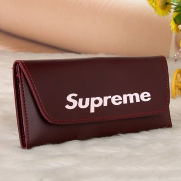 Supreme Trending Leather Print Button Purse Wallet For Women Wine red