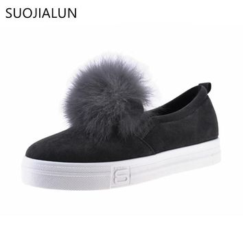 Fashion Online Suojialun Autumn Women Casual Shoes Fur Flats Pom-pon Shoes Silp-on Loafers Platform Sneaker Convenience Elastic Women Flats