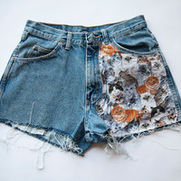Vintage Wrangler High Waist Cat Print Distressed Denim Cut Off Shorts