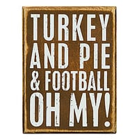 Primitives by Kathy Football Oh My Thanksgiving Box Sign - Brown Footb