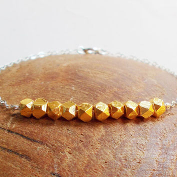 Gold Vermeil Bead and Sterling Silver Bracelet