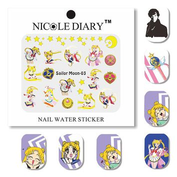 NICOLE DIARY 4 Sheets Sailor Moon Detective Nail Water Decal Set Hana Pattern Transfer Sticker Manicure Nail Art Decoration