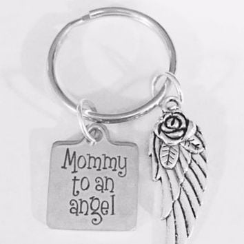 Mommy To An Angel Wing Child In Memory Remembrance Sympathy Gift Keychain
