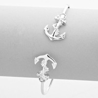 Anchor Double Sided Cuff Bracelet Silver