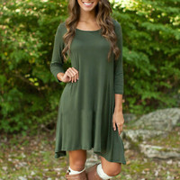 Army Green Stretch Knit Asymmetric Trapeze Dress
